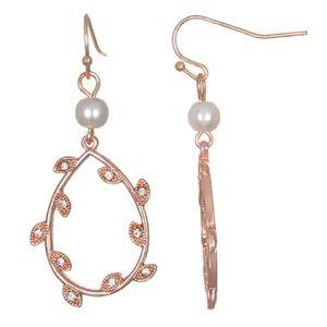 NWT! Rose gold tone crystal leaf drop earrings